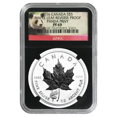 Z:\Kate\Images for the web site\Silver\Silver Coins\Certified\maples\2016 1 oz Silver Canadian Maple Leaf Panda Privy Reverse Proof NGC PF 69 Retro Holder