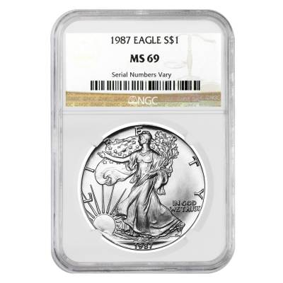 1987 1 oz Silver American Eagle $1 Coin NGC MS 69