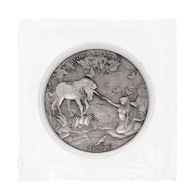 2021 Chad 2 oz Silver Mermaid & Unicorn - Mythical Creatures Series Antiqued High Relief Coin (In Cap, Sealed)