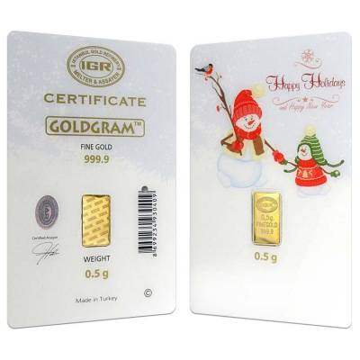 1/2 gram Istanbul Gold Refinery Bar (IGR) .9999 Fine (Holiday Assay)