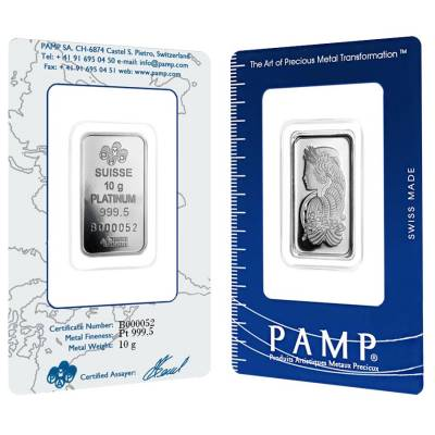 10 gram PAMP Suisse Lady Fortuna Platinum Bar .9995 Fine (In Assay)