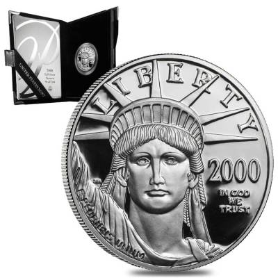 2000 W 1/2 oz $50 Proof Platinum American Eagle Coin (w/Box & COA)