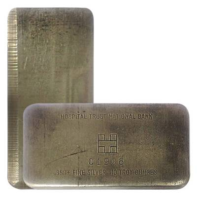 10 oz Hospital Trust National Bank Silver Bar .999+ Fine