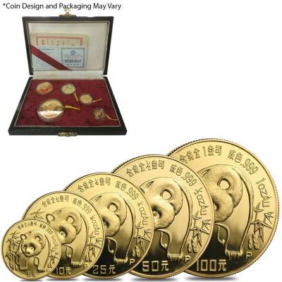 Chinese 1.9 oz Gold Panda 5-Coin Proof Set (Random Year, w/Box & COA)