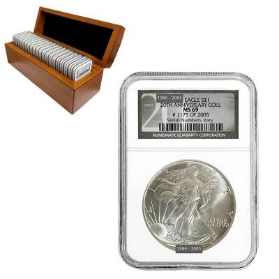 1986-2005 Silver American Eagle 20-Coin Set NGC MS 69 (w/Box)