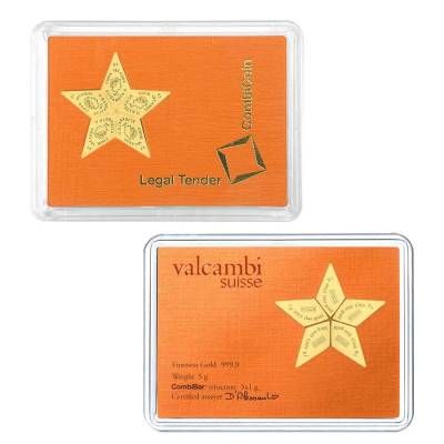 2015 5 x 1 gram Cook Islands Valcambi Gold Star CombiCoin .9999 Fine (In Assay)