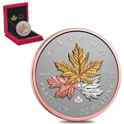 2021 Canada 1 oz Tribute to the Maple Tree Platinum Coin .9995 Fine (w/Box & COA)