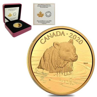 2020 Canada 35 gram Proof Gold Coin The Grizzly Bear - Wildlife Portraits .99999 Fine (w/Box & COA)
