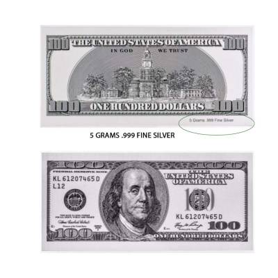 5 gram USA $100 Bill .999 Silver Banknote (Old)