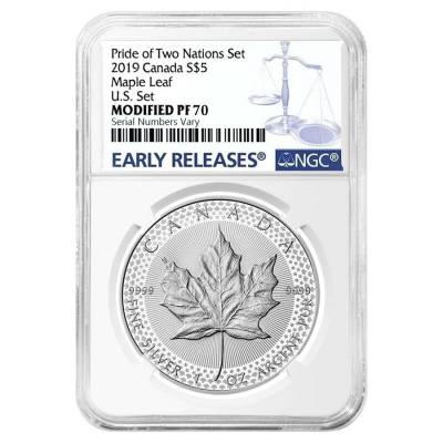 2019 1 oz Modified Proof Silver Canadian Maple NGC PF 70 ER (Pride of Two Nations)
