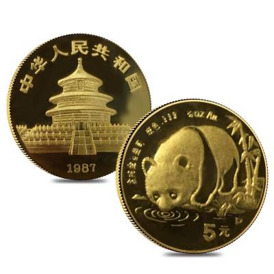 1987 P 1.9 oz Chinese Gold Panda 5-Coin Proof Set (Sealed)