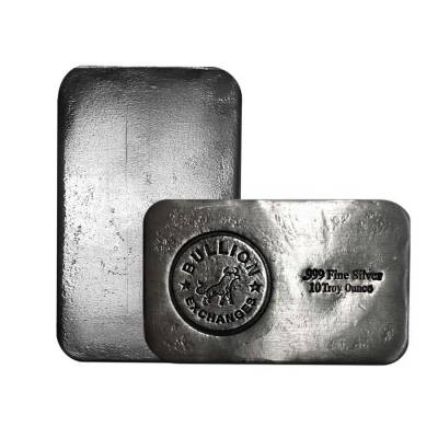 10 oz Bullion Exchanges Silver Hand Poured Bar .999 Fine (Antiqued)