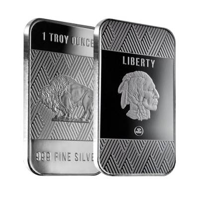 1 oz Republic Metals (RMC) Silver Buffalo Bar .999 Fine