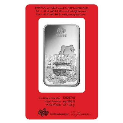 1 oz PAMP Suisse Year of the Pig Silver Bar (In Assay)
