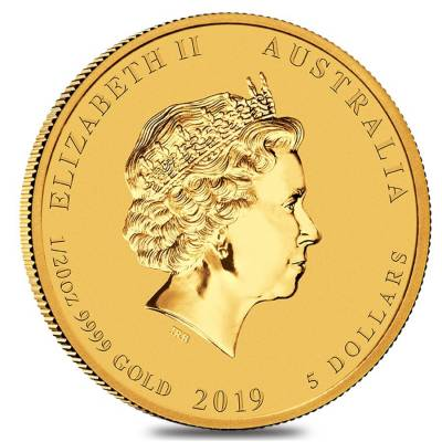 2019 1/20 oz Gold Lunar Year of The Pig BU Australia Perth Mint In Cap