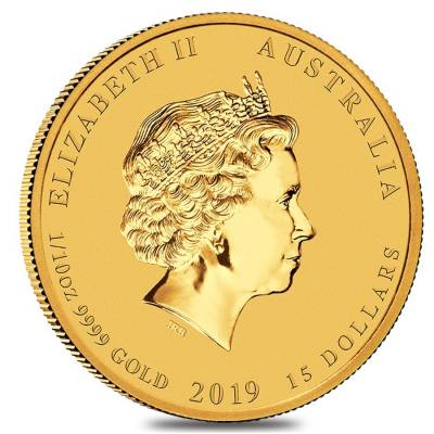 2019 1/10 oz Gold Lunar Year of The Pig BU Australia Perth Mint In Cap