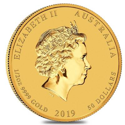 2019 1/2 oz Gold Lunar Year of The Pig BU Australia Perth Mint In Cap