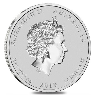 2019 10 oz Silver Lunar Year of The Pig BU Australian Perth Mint In Cap
