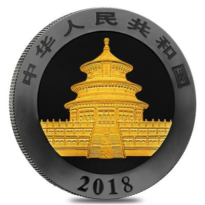2018 30 gram Chinese Silver Panda 10 Yuan .999 Fine Black Ruthenium 24K Gold Edition (w/Box & COA)
