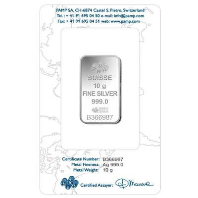 10 Gram PAMP Suisse Rosa Silver Bar .999 Fine (In Assay)