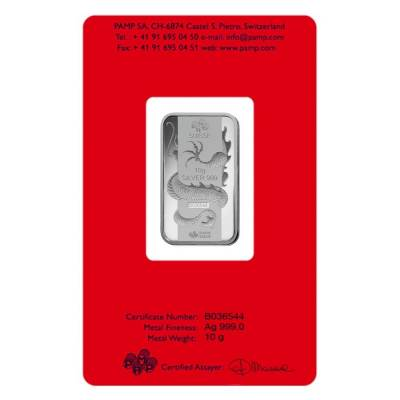10 gram PAMP Suisse Year of the Dragon Silver Bar (In Assay)