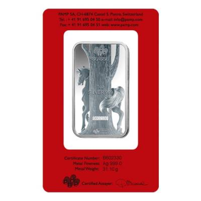 1 oz PAMP Suisse Year of the Horse Silver Bar (In Assay)