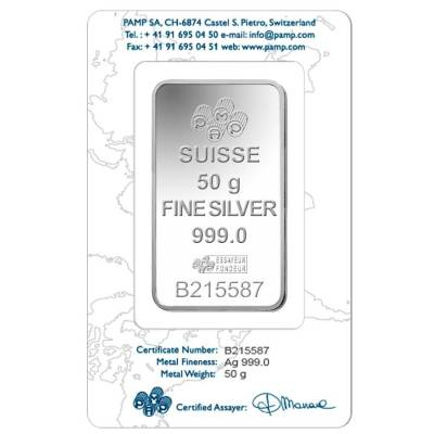 Box of 25 - 50 Gram PAMP Suisse Rosa Silver Bar .999 Fine (In Assay)