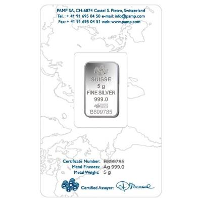 5 Gram PAMP Suisse Lady Fortuna Silver Bar .999 Fine (In Assay)