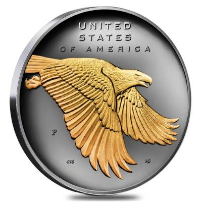 2017 P 1 oz American Liberty Reverse Proof Silver Medal .9999 Fine Black Ruthenium 24K Gold Edition (w/Box & COA)