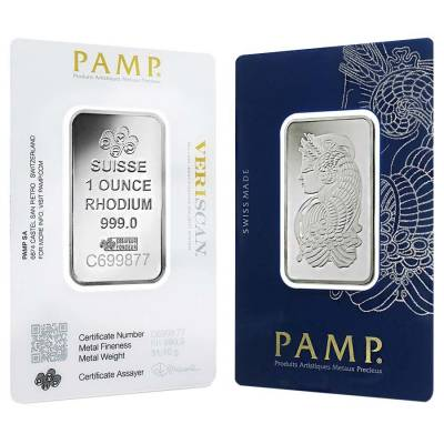 1 oz PAMP Suisse Rhodium Bar .999 Fine (In Assay)