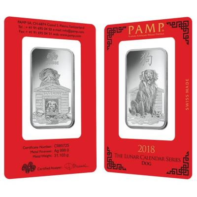 1 oz PAMP Suisse Year of the Dog Silver Bar (In Assay)