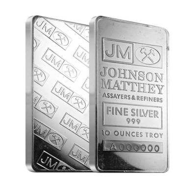 10 oz Johnson Matthey Silver Vintage Bar .999 Fine