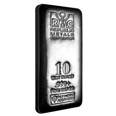 10 oz Republic Metals (RMC) Silver Bar .999 Fine (Cast,Sealed)