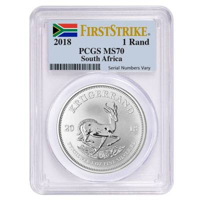 2018 South Africa 1 oz Silver Krugerrand PCGS MS 70 First Strike