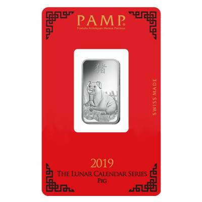 10 gram PAMP Suisse Year of the Pig Silver Bar (In Assay)