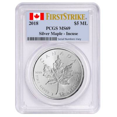 2018 1 oz Silver Canadian Incused Maple Leaf PCGS MS 69 First Strike