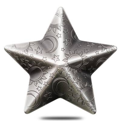2018 1 oz Palau Twinkling Star Charms High Relief Antiqued Silver Coin $5 .999 Fine (w/Box)
