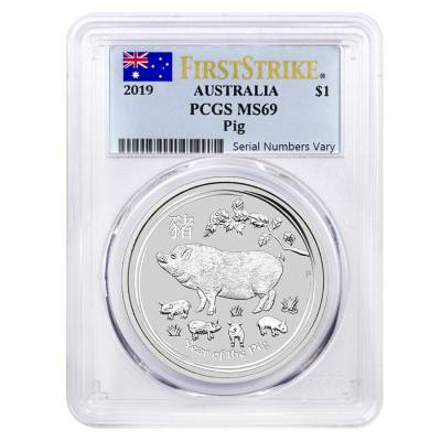 2019 1 oz Silver Lunar Year of The Pig Australia Perth Mint PCGS MS 69 First Strike