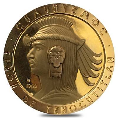 1963 Mexico Cortes and Cuauhtemoc Gold Medal AGW 1.227 oz