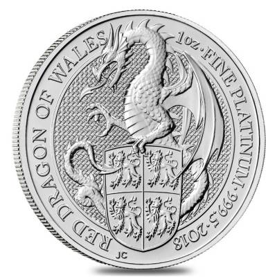 2018 Great Britain 1 oz Platinum Queen's Beast (Red Dragon) Coin .9995 Fine BU