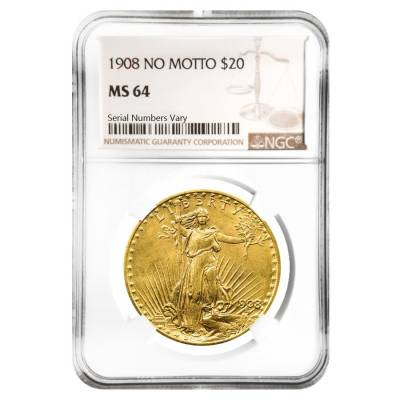 1908 $20 Gold St. Gaudens Double Eagle Coin No Motto NGC MS 64