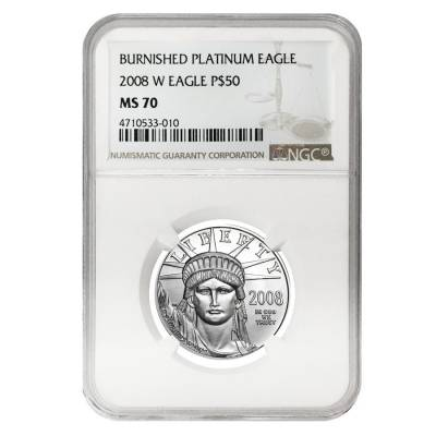 2008 W 1/2 oz $50 Burnished Platinum American Eagle NGC MS 70