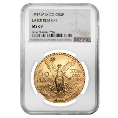 1947 Mexico 50 Pesos Gold Coin NGC MS 69
