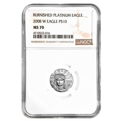 2008 W 1/10 oz $10 Burnished Platinum American Eagle NGC MS 70