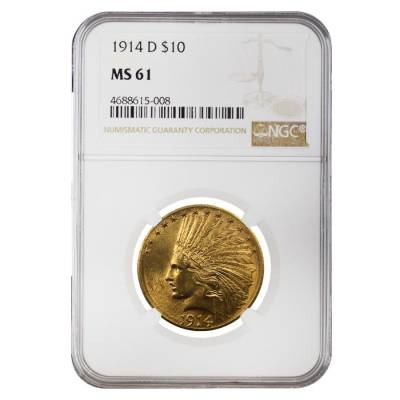1914 D $10 Indian Head Gold Eagle Coin NGC MS 61