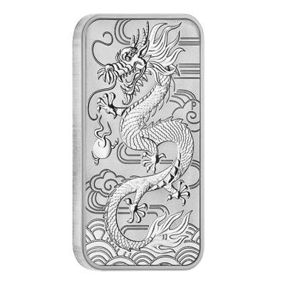 2018 1 oz Silver Australian Dragon Coin Bar $1 BU