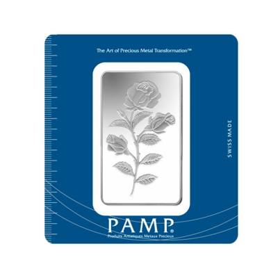100 Gram Pamp Suisse Rosa Silver Bar 999 Fine In Assay