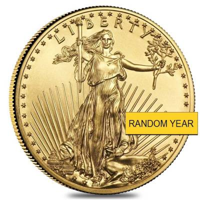 1/10 oz Gold American Eagle $5 Coin BU (Random Year)