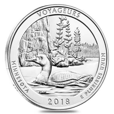 2018 5 oz Silver America the Beautiful ATB Minnesota Voyageurs National Park Coin