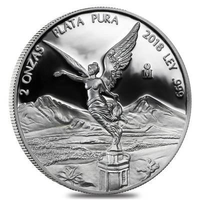 2018 2 oz Mexican Silver Libertad Coin .999 Fine Proof (In Cap)